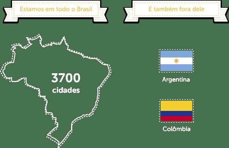 Nós estamos em todo o Brasil, em 3700 cidades. E também fora do Brasil, na Argentina e na Colômbia.